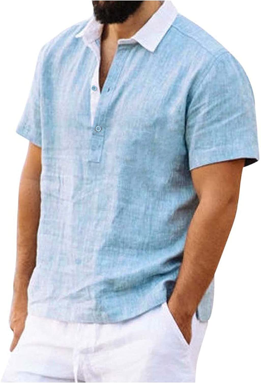 Mens Stylish Polo Shirts Short Sleeve Classic Solid Button Down Slim Fit T-Shirt Summer Pajama Undershirt Yoga Shirt