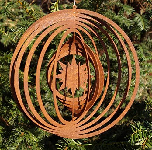 Dekostüberl Rostalgie Edelrost Windspiel mit Stern D18cm Gartendeko Weihnachten Fensterschmuck