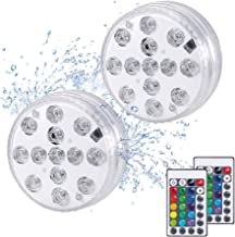 VOLADOR Upgraded Submersible LED Lights, 3.3inches Underwater Decorative Lights with Remote Control, Waterproof Decor Lights for Aquarium, Hot Tub, Jacuzzi, Pond, Pool, Fountain, Waterfall (2 Pack)