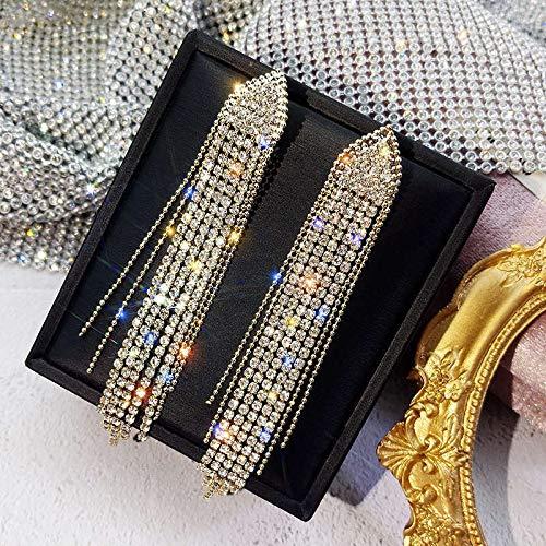 LIEQUAN Pendientes Novia S925 Pendientes Largos de Aguja de Plata Temperamento Pendientes de Borla de Diamantes completos Mujeres(Dorado)