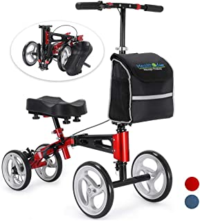 Health Line Aluminum Knee Scooter Steerable Knee Walker with Strong Disc Brake and Large Bag, Crutches Alternative for Foot Injuries Ankles Surgery, Compact & Portable, Hot Red & Black