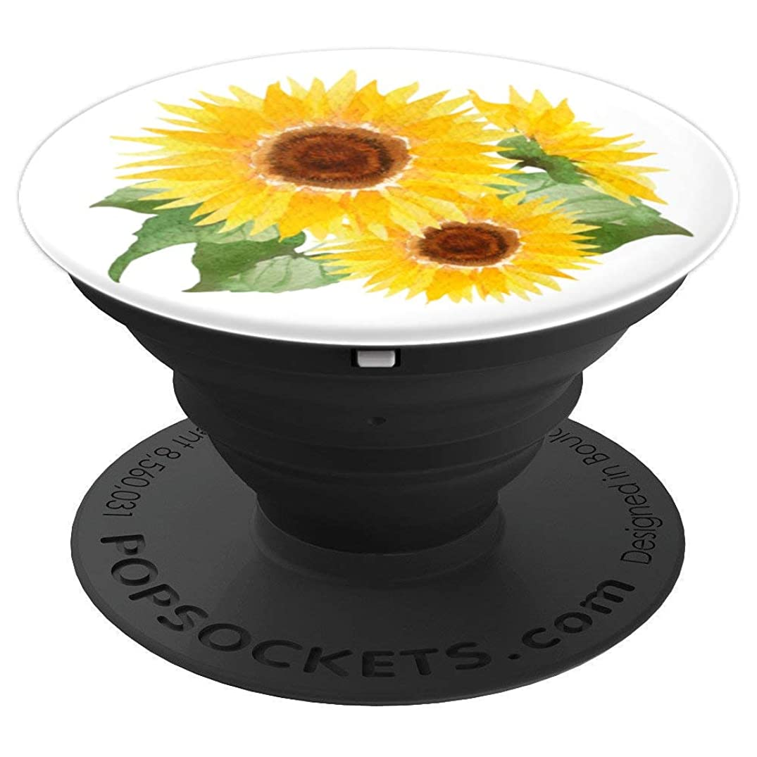 Cute Yellow Sunflowers Flowers So Pretty Watercolor On White - PopSockets Grip and Stand for Phones and Tablets