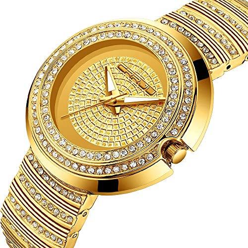 ZQshoub Orologio da Donna al Quarzo Orologio da Donna alla Moda in Oro Argento Orologio da Polso in Acciaio Inossidabile con Diamanti Orologio da Donna Orologio da Donna,1