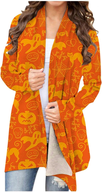 Gibobby Halloween Cardigan for Women,Women Pumpkin Printing Long Sleeve Open Front Sweaters Lightweight Fashion Outwear