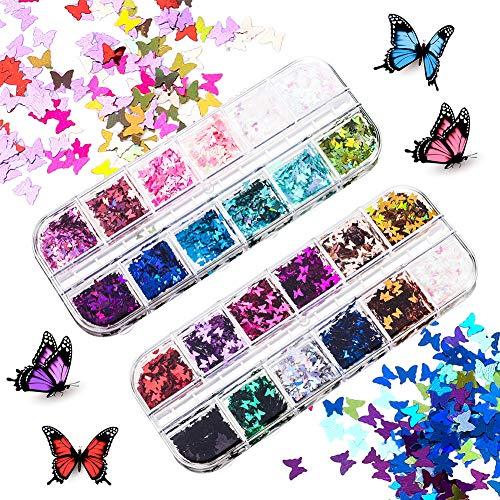 Yumi V 24 Gitter Nagel Pailletten Glitter Nail Art Holographic Glitter Pailletten Schmetterling Glitzer Sequin für Nägel Dekoration Gesicht Körperdekoration
