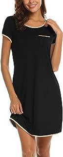 Womens Nightgown Cotton Sleep Shirt Dress Satin Patchwork Short Sleeve Sleepwear with Pocket