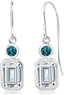 925 Sterling Silver Dangle Earrings Forever Brilliant (GHI) Emerald Cut 2.00ct (DEW) Created Moissanite by Charles & Colvard and Topaz