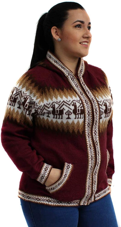 CELITAS DESIGN Cardigan Sweater Hoodie Zip Pockets Alpaca Blend Unisex Made in Peru