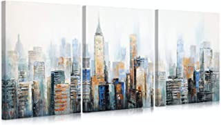 B BLINGBLING New York City Skyline Canvas: 3 Panels City View Wall Art Painting City View Artwork Poster for Living Room C...
