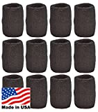Unique Sports Wristbands/Sweatbands Pack of 12 (6 Pair)...