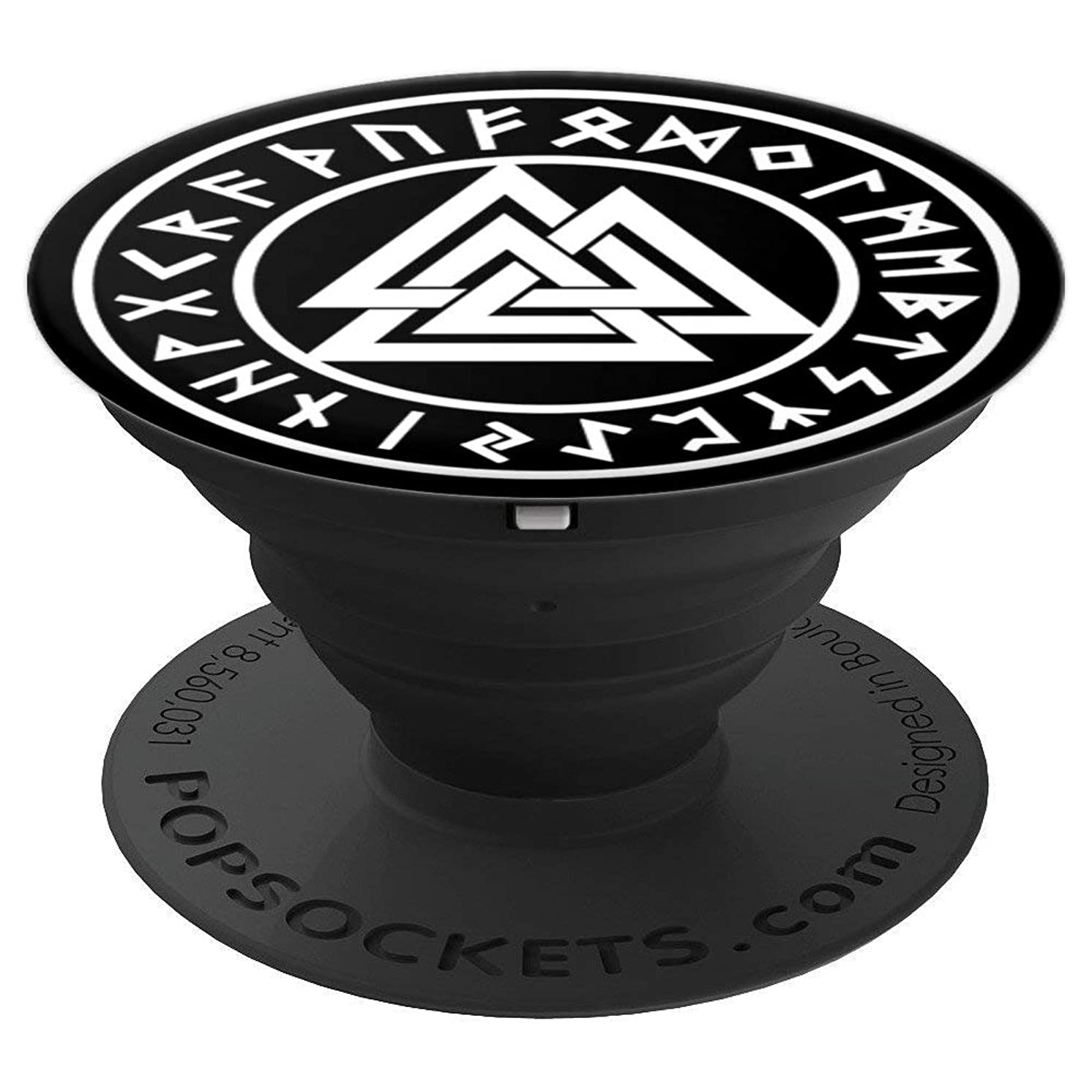 Valknut Odin Sign Futhark Runes Vikings Nordic Celtic Knot - PopSockets Grip and Stand for Phones and Tablets