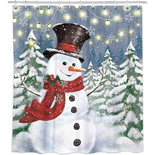 Bonsai Tree Snowman Shower Curtain, Waterproof Christmas Bathroom Curtains, Snowflake Christmas Trees Fabric Shower Curtains Hooks for Bathroom Decorations, 72'x72'