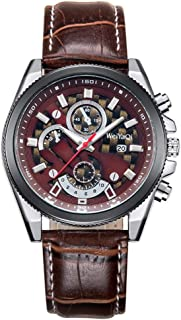 Fashion Leather Strap Watches WeiYaQi 89032 Fashion Quartz Movement Wrist Watch with Leather Band(Brown + Wind Red) (Color : Color1)