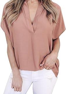 iMakCC HOT Sale Womens V Neck Loose Casual Short Sleeve Chiffon Top T-Shirt Blouse