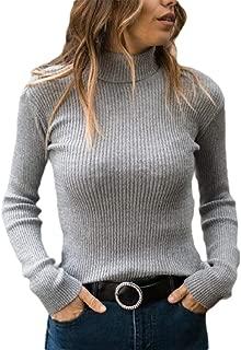 Britainlotus Womens Basic Slim Fit Knit Pullover Ribbed Turtleneck Long Sleeve Sweater