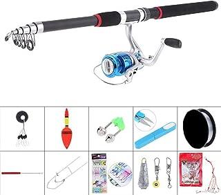 3000 Series Spinning Reel Pole Set 2.7m Fishing Rod Reel Line Full Kits with Holder Scissors Fishing Float Hooks Etc