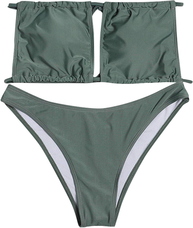 Women's Summer Hollow Out Bra Thong Set High Waisted Swimsuits Strap Swimsuit Front high Waist Thong Bikini