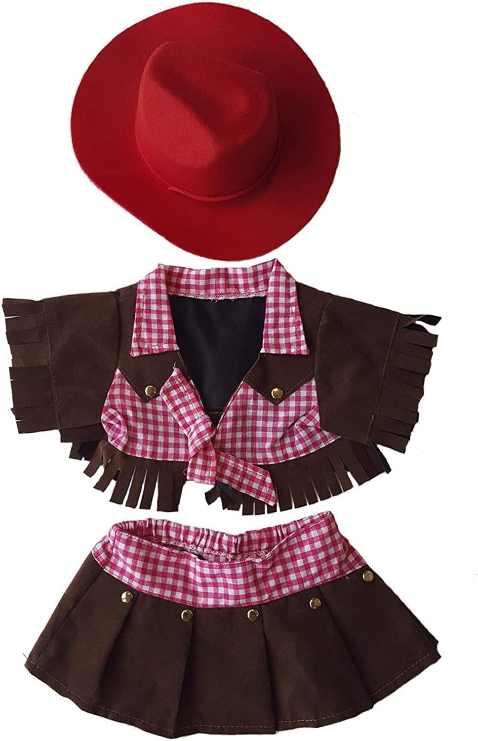 Cowgirl Outfit Teddy Bear Clothes Fit 14 - 18 Build-a-bear, Vermont Teddy Bears, and Make Your Own Stuffed Animals by Stuffems Toy Shop