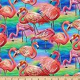Paintbrush Studio Fabulous Flamingos Large Flamingos Water Multi Quilt Fabric