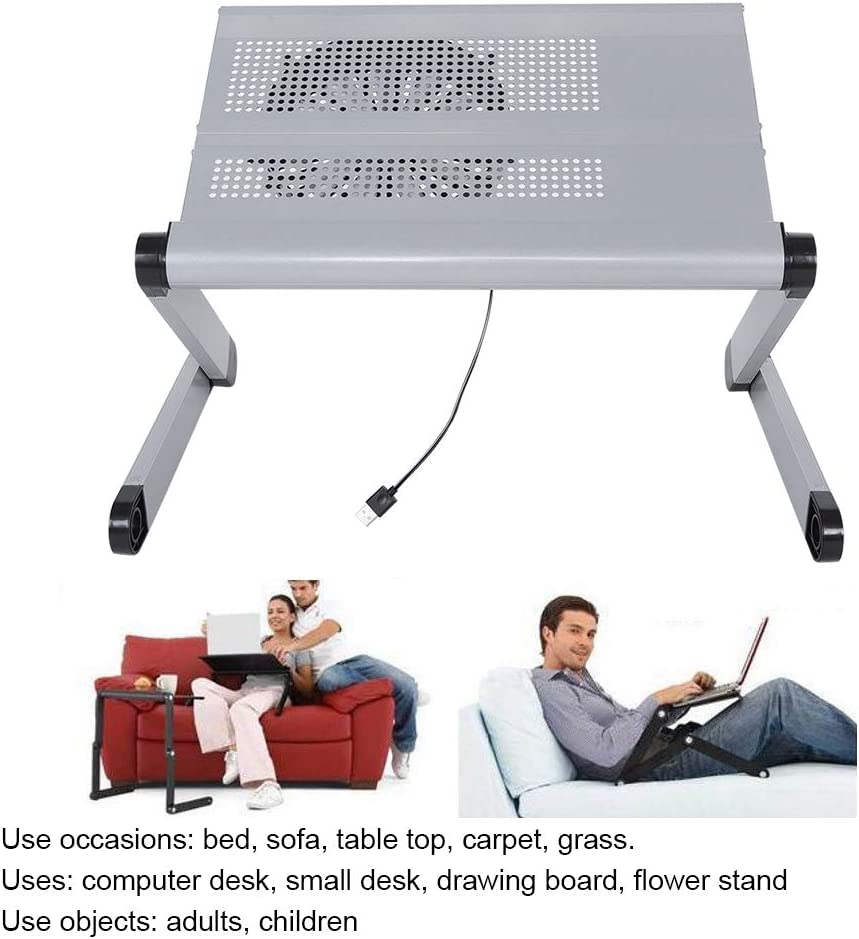 Zerone Supporto per Vassoio per Laptop in Alluminio Nero Tavolino Porta Laptop Portatile Regolabile Supporto Alluminio Notebook Tavolino PC Pieghevole per Letto Divano e Scrivania Bianco