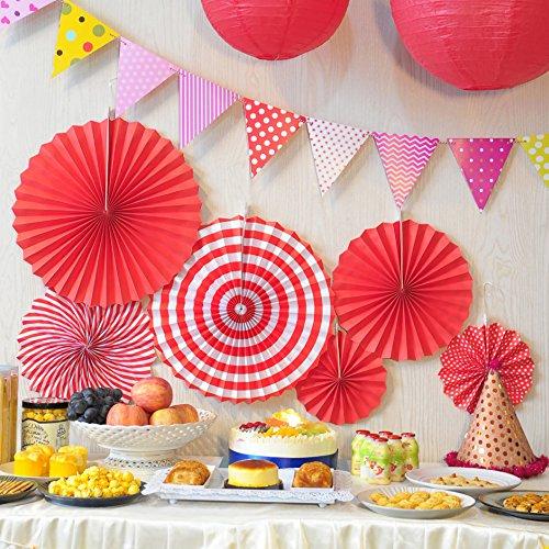 Time to Sparkle TtS 9 Stück gemischte Seidenpapier Pompons/Wabenbälle / Runde Papierlaternen Lampenschirme Tischdekoration Girlande Seidenpapier Hochzeit Party Dekoration 6X Fan-Red