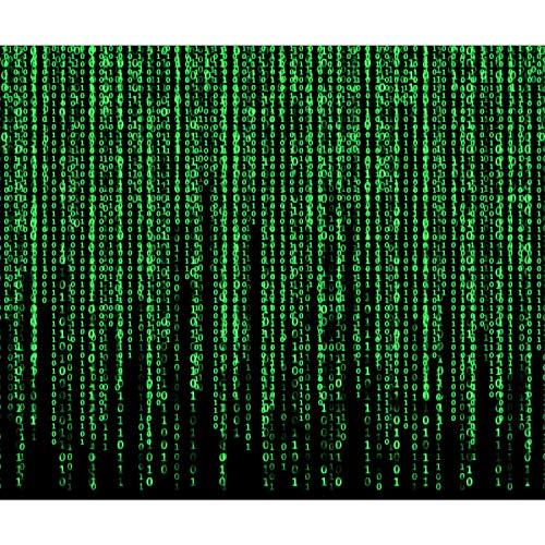 decomonkey Fototapete Matrix 350x256 cm XXL Design Tapete Fototapeten Vlies Tapeten Vliestapete Wandtapete moderne Wand Schlafzimmer Wohnzimmer Daten Code Regen schwarz grün