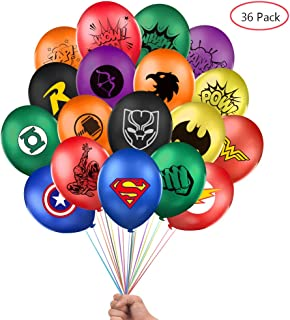 Lsang Superhero Balloons 36 Pack 12 Inches Latex Balloons for Kids Birthday Party Supplies,18 different patterns for Perfect Girls and Boys comic theme Party and Decorations