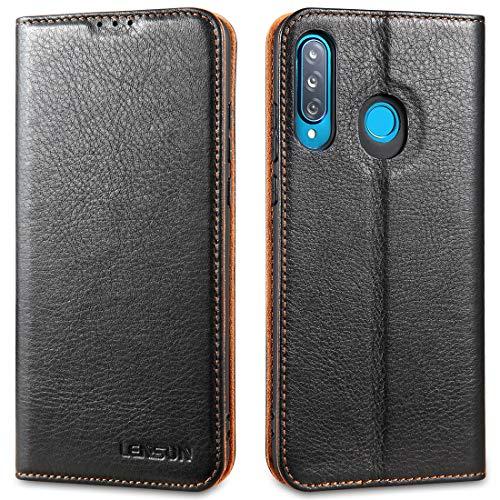 LENSUN Echtleder Hülle für Huawei P30 Lite, Leder Handyhülle Magnetverschluss Handytasche kompatibel mit Huawei P 30 Lite New Edition(6,15 Zoll) – Schwarz(P30L-DC-BK)