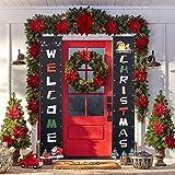 ODDEL - Decoración navideña para puerta de porche - Decoración para el hogar - Decoración moderna de casa de campo - Decoración de Navidad al aire última intervensión - Cartel colgante de feliz...