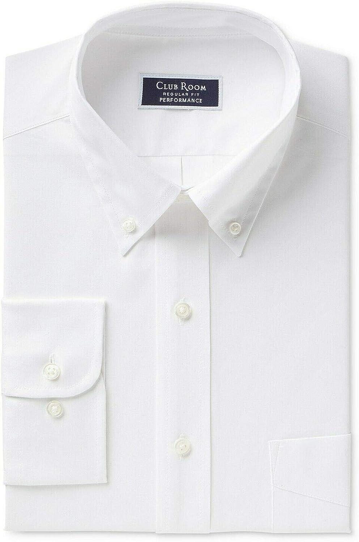 Club Room Men Dress Shirt Slim Fit Performance Pocket White 16 1/2