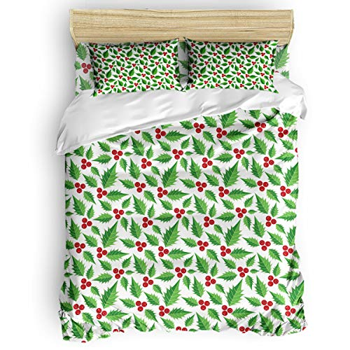 Beauty Decor Soft Duvet Cover with Zipper Closure Merry Christmas Theme 4-Piece Set Bedding Comforter Cover with Corner Ties and 2 Pillow Shams, King Size