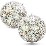 Gejoy 2 Piezas Pelotas de Playa Inflables con Purpurina de Confeti Bola de Fiesta de Piscina Transparente para Juguete Acuático de Playa de Verano Piscina y Fiesta, 16 Pulgadas (Multicolor)
