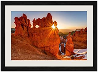 Desert Rock Sunrise - Art Print Wall Black Wood Grain Framed Picture(20x14inches)