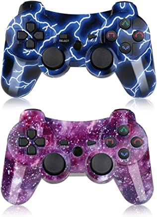 PS3 Controller Wireless 2 Pack Double Shock Gamepad for...