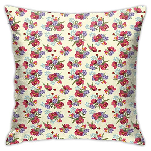 DHNKW Throw Pillow Case Cushion Cover,Flower Branches of Shabby Garden Peony Petunia Blossoms English Garden ,18x18 Inches