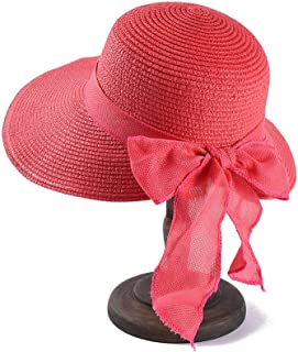 SHYPwM-Hats Straw Visor Hat Trekking Hat Big Bowknot Straw Hat Floppy Foldable Roll Up Beach Cap Womens (Color : Pink, Size : 56CM-58CM)