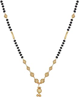 Zeneme Women's Pride Designer Gold Plated Mangalsutra Pendant with Chain for Women