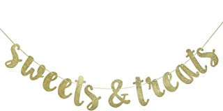 Sweets & Treats Gold Glitter Bunting Banner, Engagement,Bridal Shower, Wedding Party Decorations (Gold0