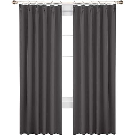 Deconovo 1級遮光 カーテン 幅100cm丈200cm グレー 形態記憶加工済み 防寒 保温 UVカット おしゃれ 断熱 昼夜目隠し 2枚セット
