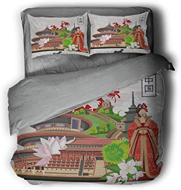 """Mademai Ancient China High-end Customized Three-Piece Suit Vintage Style Chinese Attributes of Phoenix Dress Lotus Flower Dragon Palace Grey and White Comforter 104""""x89""""inch Multicolor"""