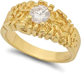 The Bling Factory 14k Gold Plated 12mm Chunky Nugget w/Round Clear CZ Solitaire Ring ، مقاس 9