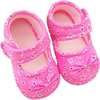 Kimanli Toddler Kids Crib Shoes Baby Bowknot Printing Newborn Cloth Shoes First Walkers Prewalker Bow Shoes
