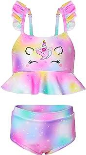 ICOSY Girls Swimsuit 2 Piece Bathing Suit for Girls Unicorn Bikini Set Toddler Ruffle Swimwear with Adjustable Strap