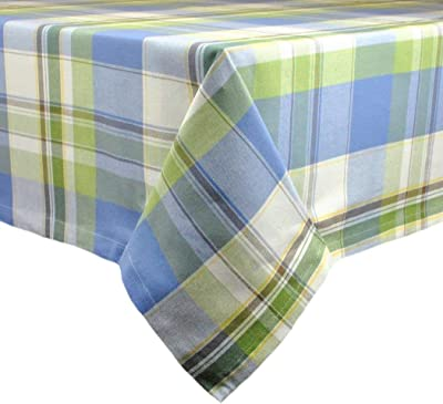 N2 1 Piece 52x52 Blue Square Plaid Tablecloth, Green Cabin Lodge Table Cloth, Rugby