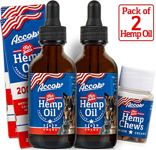 Accob - 2 Hemp Oil for Dogs and Cats - 2000 MG - Separation Anxiety, Hip Joint Pain, Stress Relief, Arthritis,Seizures, Chronic Pains,Anti-Inflammatory - Omega 3,6 & 9 - Pure Organic- Calming Drops