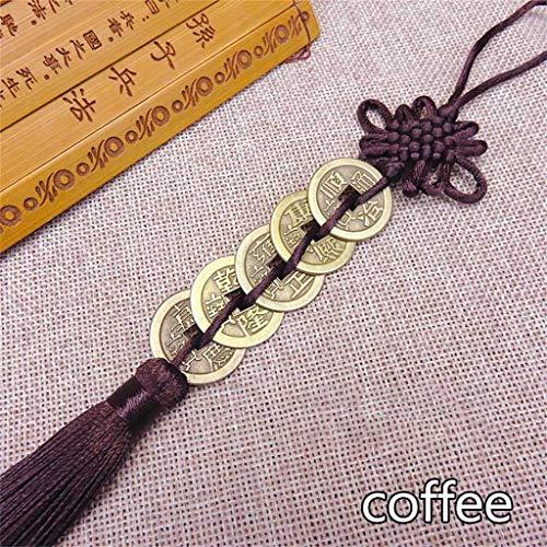 2 stuks Vijf keizers geld geluksbrenger oude munt Chinese knoop verzameling gift koperen munt sleutelhanger good luck woonaccessoires,C