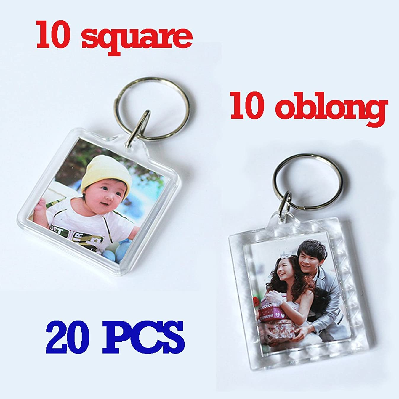 Clear Photo Frame Keychain Set - 20 Pieces Square & Rectangle Shapes Transparent Acrylic Snap-in Personalized Picture Frame Key Holder, Cool Gift for Friends Lovers and Family
