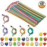 Set de 49 Piezas 25 Lápices Flexibles y Blandos Con 24 Borradores Gomas de Borrar en Forma de 6 Frutas Mágicos Lápices de Juguete Favores para Fiesta Regalos para Piñatas Cumpleaños de los Niños