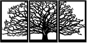 Nachic Wall 3 Piece Tree Wall Art Metal Tree of Life Wall Decor For Farmhouse Cabin Rustic Tree Wall Sculpture For Home Office Decorations