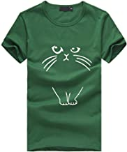 Aniywn Women Plus Size Short Sleeve T-Shirt Loose Girl Casual Round Neck Summer Cat Pattern Tops Blouse